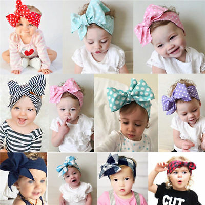Baby Toddler Girls Kids Bunny Rabbit Bow Knot Turban Headband Hair Band Headwrap 11