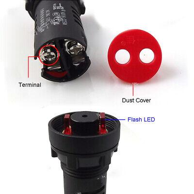 16 22mm LED Flash Warning Indicator Buzzer Alarm Signal Light 12V 24V 110V 220V 8