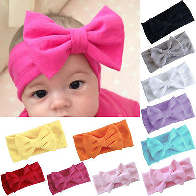 Girls Kids Baby Cotton Bow Hairband Headband Stretch Turban Knot Head Wrap New 5