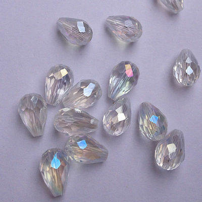 NEW Hot Sale!8x12mm Teardrop Glass Faceted Loose Crystal Spacer Beads 33 Colors