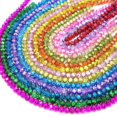 Wholesale Crystal Glass Rondelle Faceted Loose Spacer Beads DIY 4mm 6mm 8mm 10mm 3