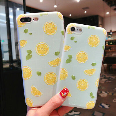 For iPhone X 8 6s 7 Plus Cute Fruits Pattern Slim Relief Matte Soft Case Cover 7