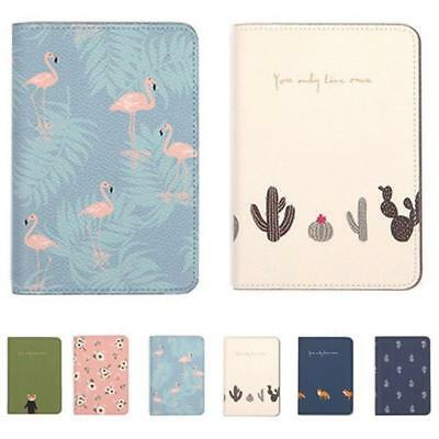 Animals Flower Faux Leather Passport Holder Cover Travel Wallet Organize Bag BS 2