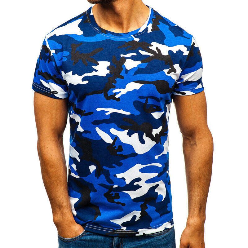 Mens City Camouflage Tactical Military Short Sleeve Army Camo T-Shirt Blouse Top 9