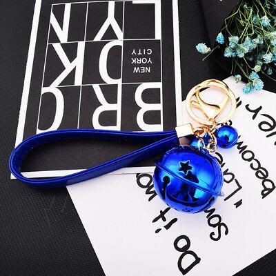 New Leather Jingle Bell Charm Handbag Purse Pendant Keyring Keychain X'mas Gift