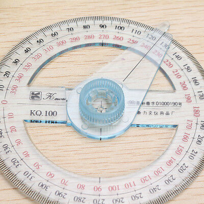 Circular Plastic 360 Degree Pointer Protractor Ruler School Office Tool Supplies 11