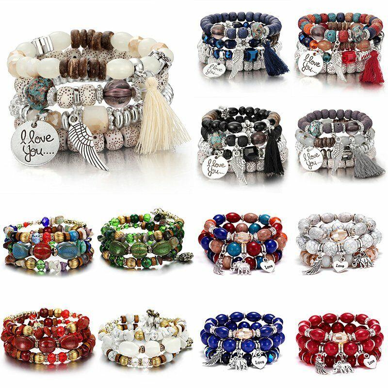 Boho Multilayer Natural Stone Bead Tassel Pendant Chain Bracelet Charm Women Set 2