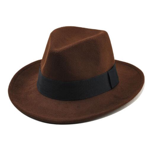 2743354a8008c Unisex Wool Felt Fedora Hat Classic Men Gentleman Wide Brim Fedoras Jazz  Cap 11 11 of 12 See More