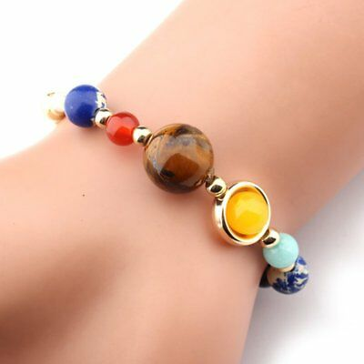 Universe Planets Bead Bangles Natural Solar System Energy Bracelet For Women Men 6
