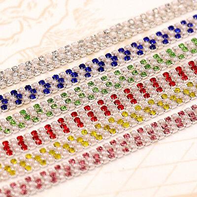 1M Crystal Rhinestone Trim Chain 2/2.5/3mm Silver Cup Close Diamante Chain Trims 3
