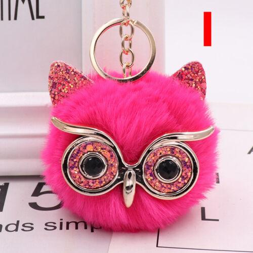 Charm Owl Keychain Fox Faux Fur Cute Pompom Ball Pendant Soft Car Keyring Purse 10