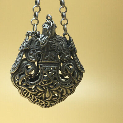 """chinese Tibetan silver old copper hand carved """"福"""" statue snuff bottle 57g a791 4"""