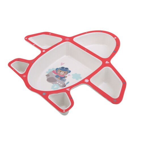 Infants Airplane Tableware Multicolor Plate Food Tray With Spoon Fork Dishes 6A 6