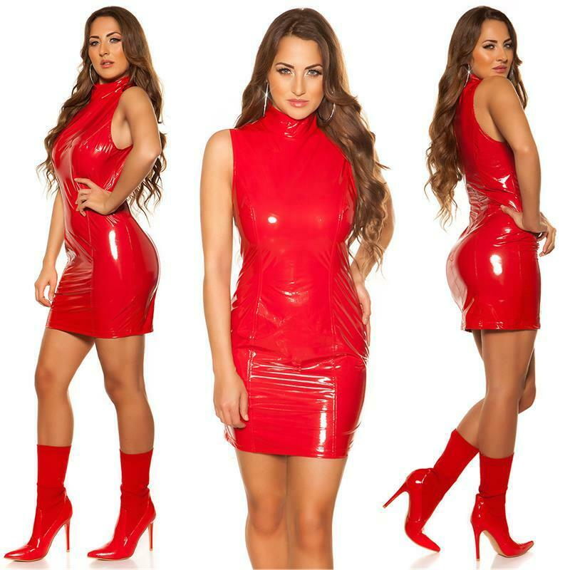 Sexy Club Minikleid in Latex-Look mit Stehkragen Rot #GW851 7