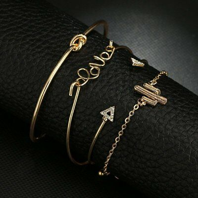 New Fashion Women Boho Gold Silver Bracelets Rhinestone Bangle Cuff Jewelry Set 9