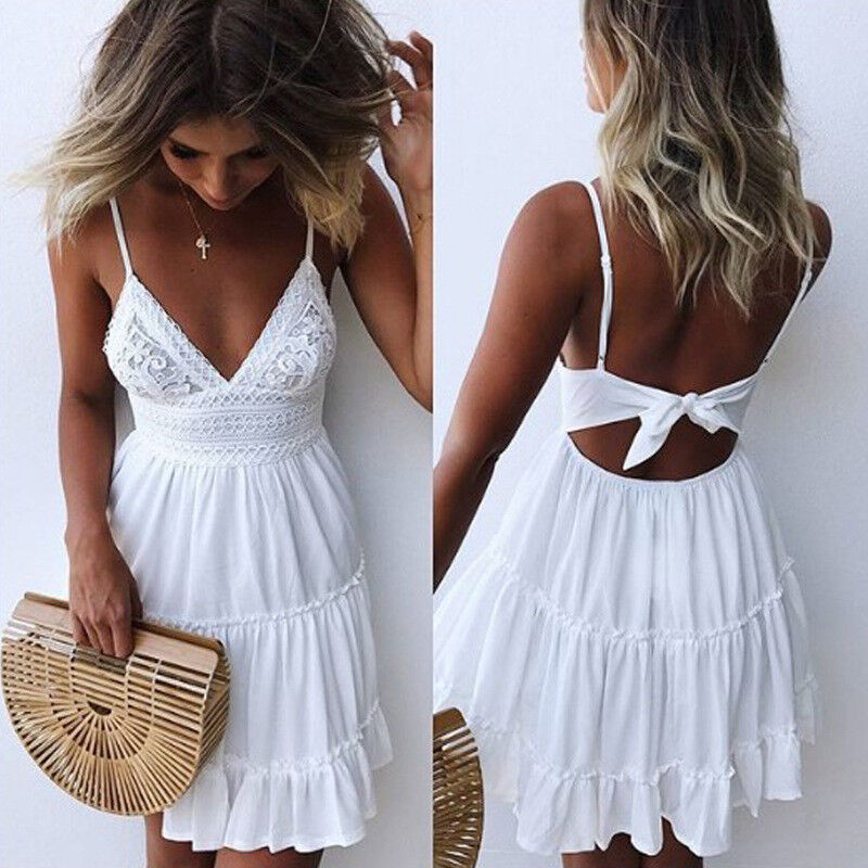 Womens Boho Strappy V Neck Lace Swing Mini Dress Floral Summer Beach Sundress 8