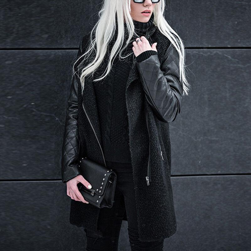 da5e1a6a819867 Damen Biker Jacke Parka Mantel Kunstleder Ärmel Trenchcoat Winterjacke  Outwear 8 8 von 12 ...