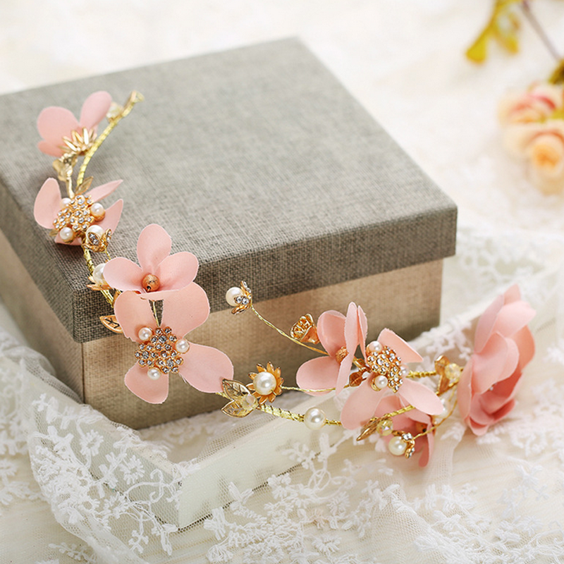 Wedding Bridal Pink Handmade Silk Flower Pearl Garland Hair Band Tiara Headband 2
