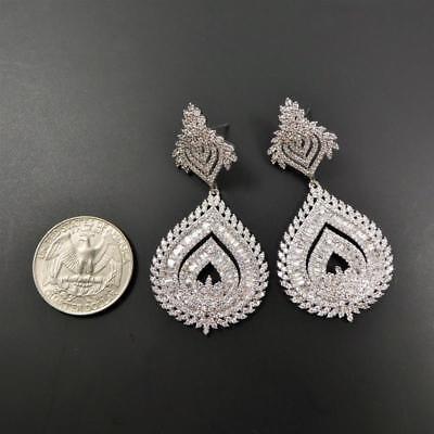 Shiny Silver Tone Sparkling CZ Cubic Zirconia Large Teardrop Chandelier Earrings 4