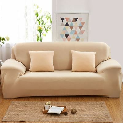 Solid Modern Stretch Chair Sofa Cover 1 2 3 4 Seater Couch Elastic Slipcover US 10