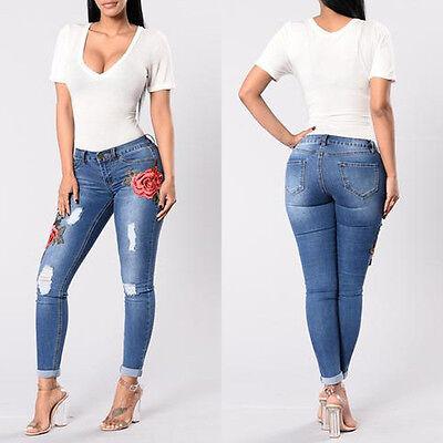 mejores marcas apariencia elegante elegante en estilo MUJER VAQUEROS PITILLO Flor Denim Elástico Bordado Pantalones Cintura Alta