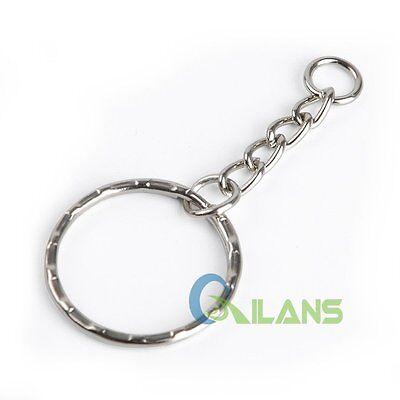 200Pc DIY 25mm Polished Silver Keyring Keychain Split Ring Short Chain Key Rings 8