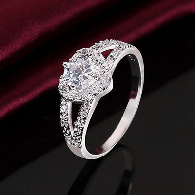 Cheap Fashion Silver Plated Women Crystal Wedding Bridal Lady heart Ring 5