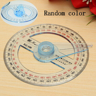 Circular Plastic 360 Degree Pointer Protractor Ruler School Office Tool Supplies 3