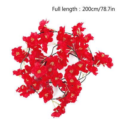2m Artificial Cherry Blossoms Rattan Sakura For Wedding Arch Hanging Wreath Deco 7
