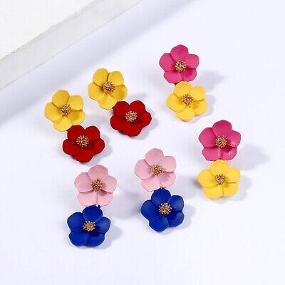 Fashion Crystal Women Flower Drop Dangle Earrings Ear Stud Jewelry Double Layer 3