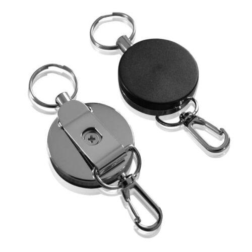 2PCS Heavy Duty Retractable Metal Reel Chain ID Holder Badge Key Ring KeyChain 2