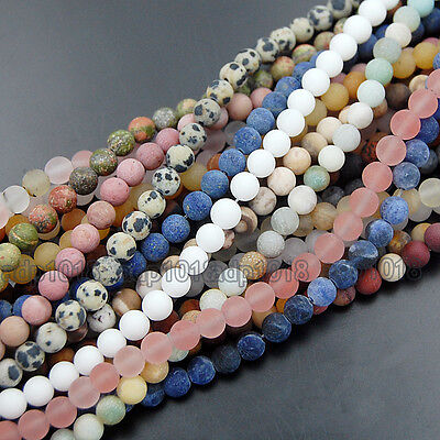 Wholesale Natural Matte Gemstone Round Spacer Loose Beads 4mm 6mm 8mm 10mm 12mm 3