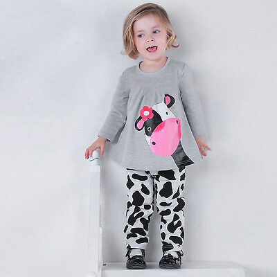 Toddler Kids Girls Tracksuit Sweatshirt Tops + Jogging Pants Outfits Clothes Set 7