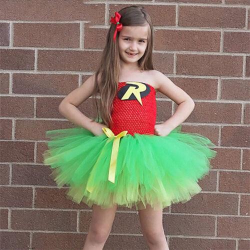 Kids Girls Superhero Fancy Dress Christmas Child Batman Costume Clothes Sundress 3