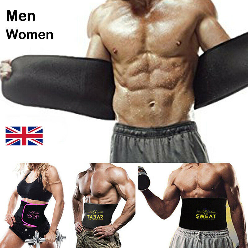 UK Men Women Waist Trimmer Belt Sweat Wrap Tummy Stomach Weight Loss Fat Burner 4