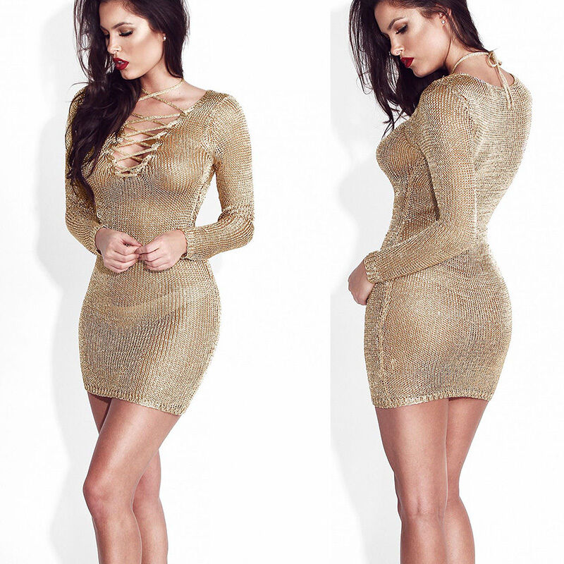 UK-Sexy-Women-Long-Sleeve-Bandage-Bodycon-Evening-Party-Cocktail-Club-Mini-Dress