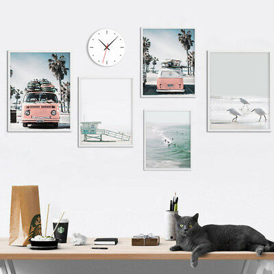 Sea Beach Landscape Nordic Poster Wall Art Canvas Prints Summer Home Decoration