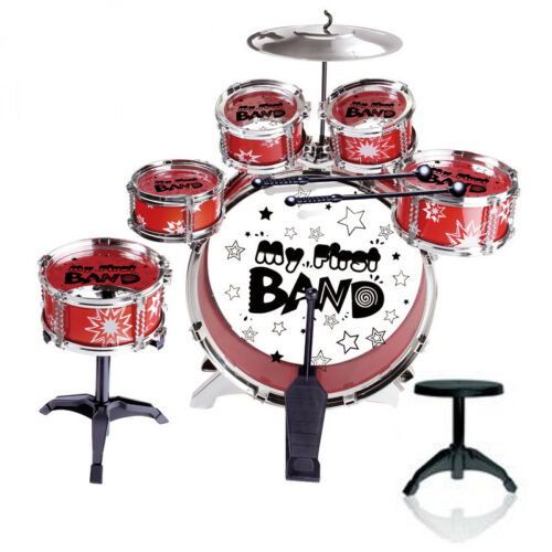 Blue / Red Junior Drum Kit For Kids - 3/5/6 Drum Set with Stool Childrens choose 3