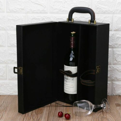 Wine Bottle Box Luxury Leather Bag 2 Red Wine Champagne Tote Carrier Travel Case 4