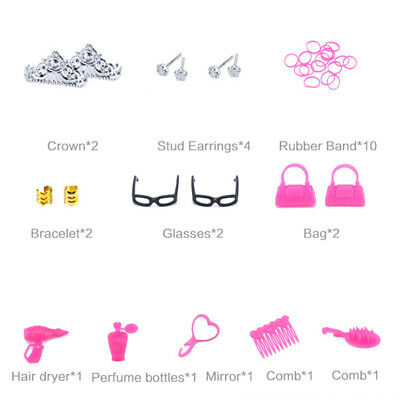 Barbie Doll Dresses, Shoes and jewellery Clothes Accessories 85pcs/Set 5