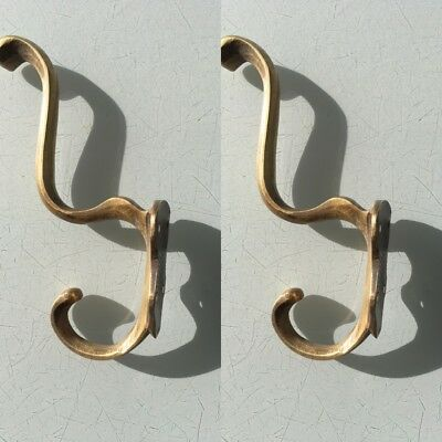 """2 COAT HOOKS door solid brass furniture vintage age old style heavy 5 """" patina B 5"""