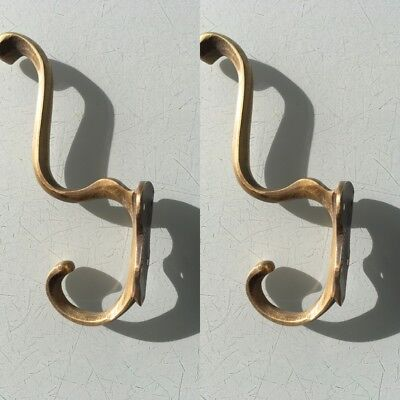 "4 COAT HOOKS door solid brass furniture vintage age old style heavy 5 "" patina 5"