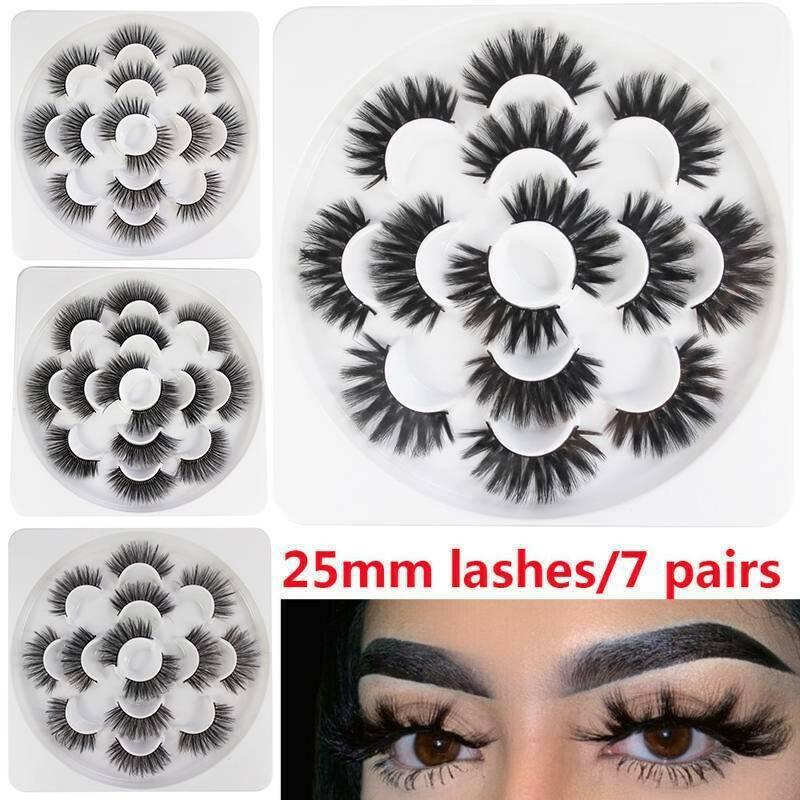 7 Pairs 25mm 6D Mink Hair False Long Thick Eyelashes Wispy Fluffy Lashes Set UK 2