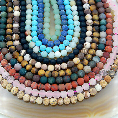 Wholesale Natural Matte Gemstone Round Spacer Loose Beads 4mm 6mm 8mm 10mm 12mm 2