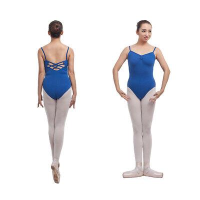 Ladies Black Ballet Camisole Leotard With Cross Straps Gymnastic Dance Uniform