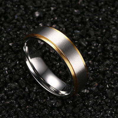 316L Stainless Steel Silver Brushed Gold Plating Bands Men Women's Couple Rings 3