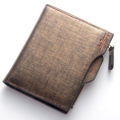 Men Leather Wallet ID Credit Card Holder Clutch Bifold Pocket Zipper Coin Purse 9