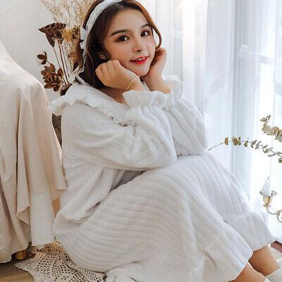 Lady Girls Corel Fleece Nightdress Long Sleeve Nightgown Sleepwear Lolita Sweet 9