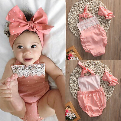 Newborn Baby Girls Romper Jumpsuit Bodysuit Infant Headband Clothes Outfits Id 4