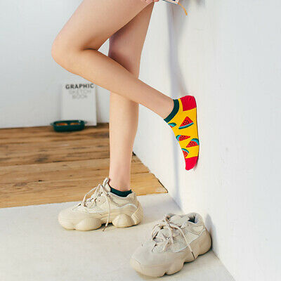 Mens Cotton Ankle Socks Novelty Animal Fruit Funny Asymmetric Unisex Dress Socks 6
